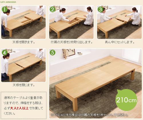 テーブルの伸縮方法