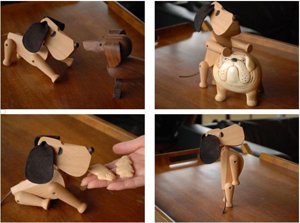 いろいろなポーズができる犬の木のおもちゃ