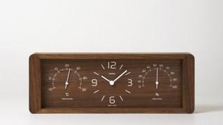 温度計、湿度計付き置時計「lemnos-yokan」