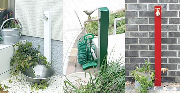 ホワイト、グリーン、レッドを庭に設置した雰囲気画像