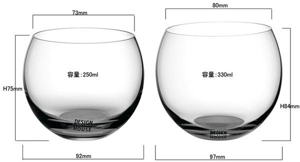 2種類のサイズのグラスを並べた画像