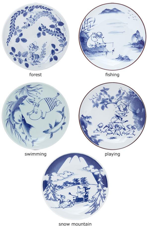 有田焼ムーミン皿の5種類のデザインを並べた画像