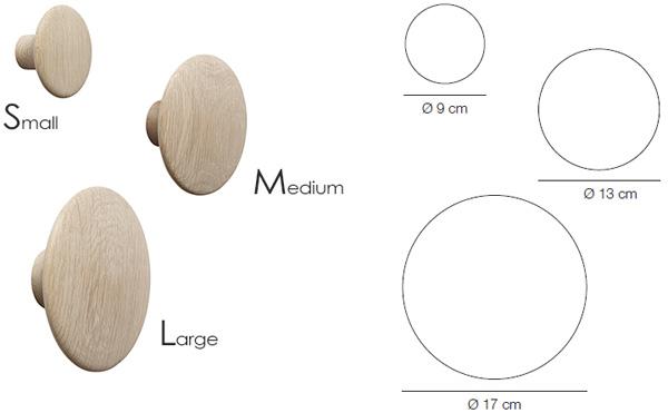 ザ・ドッツの3種類のサイズが書かれた画像