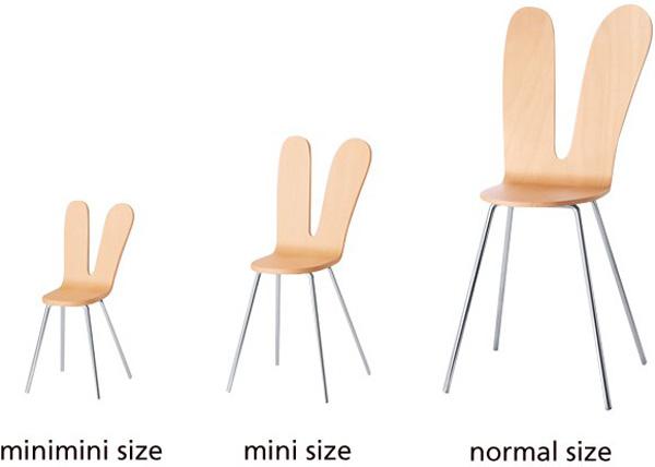 3種類のサイズの椅子を並べた画像