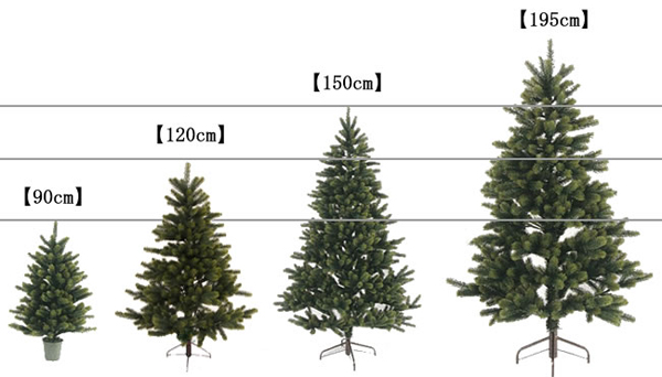 4種類の高さのツリーを並べた画像