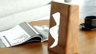 縦置きで使えるおしゃれな木製ティッシュケース「TISSUE CASE RIN」の画像