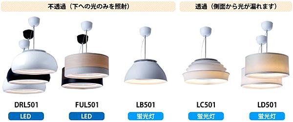 LEDタイプと蛍光灯タイプの各デザインを並べた画像