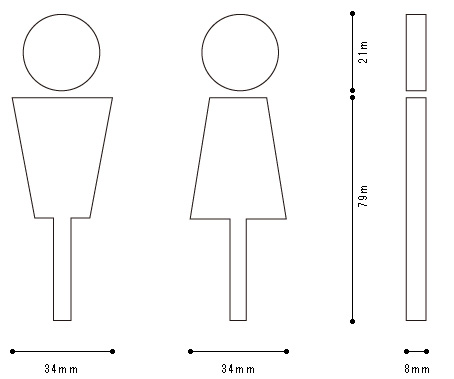 ハコア トイレサインの寸法が書かれた画像