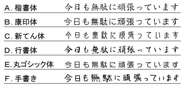 6種類の書体を並べた画像