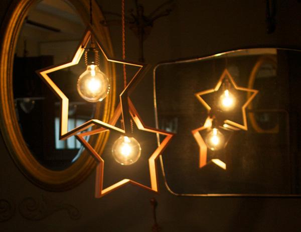 星形のペンダントライト、APROZ DOM Wood pendant light(アプロス ドム ウッド ペンダントライト)の画像