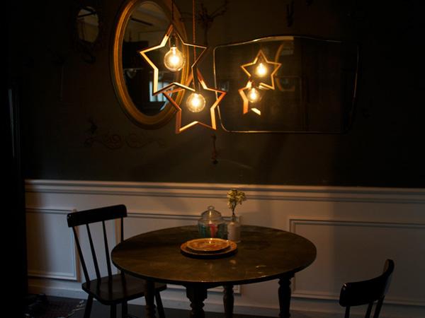 暗い部屋で照明に灯りを照らした雰囲気画像