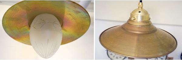 ガラスの電球カバーと真鍮シェードの画像