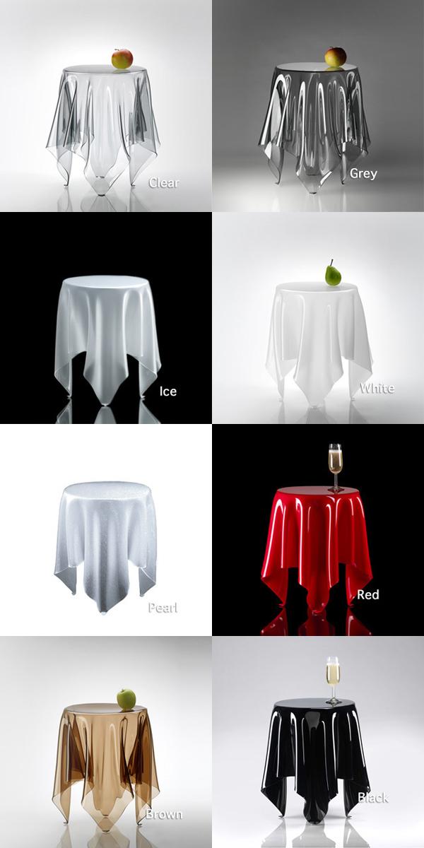 8色のテーブルを並べた画像