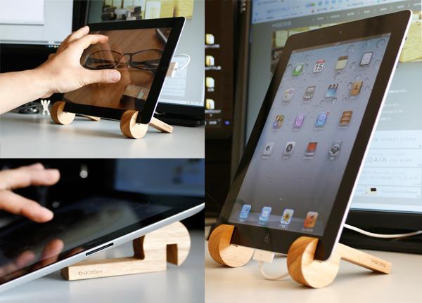 iPadをスタンドに立てかけて使っている画像