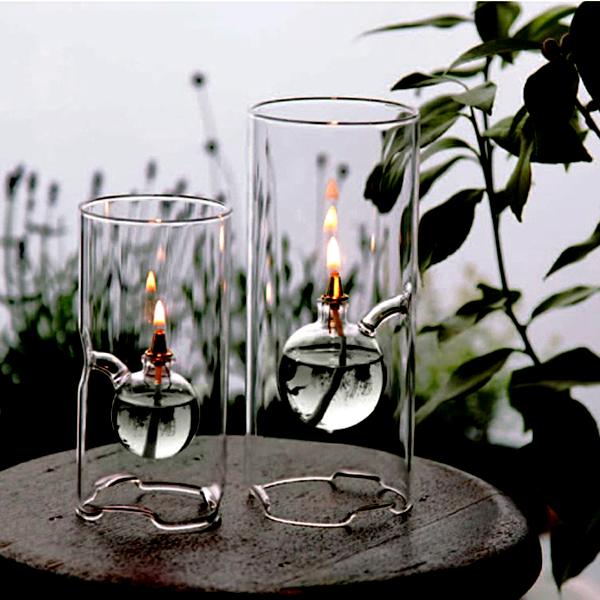 2つのオイルランプに火を灯している画像