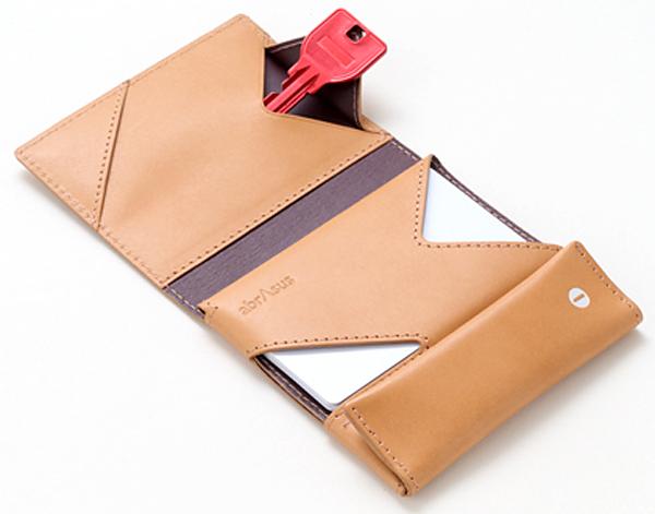 財布のカギポケットにカギを入れている画像