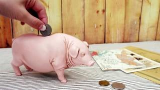 ブタ貯金箱にお金を入れている画像