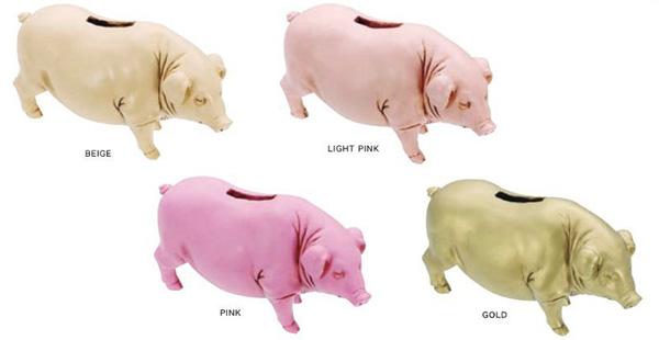 4種類のカラーのブタ貯金箱を並べた画像