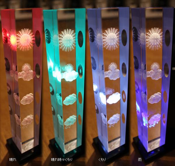 4つの天気マークの光の色を並べた画像