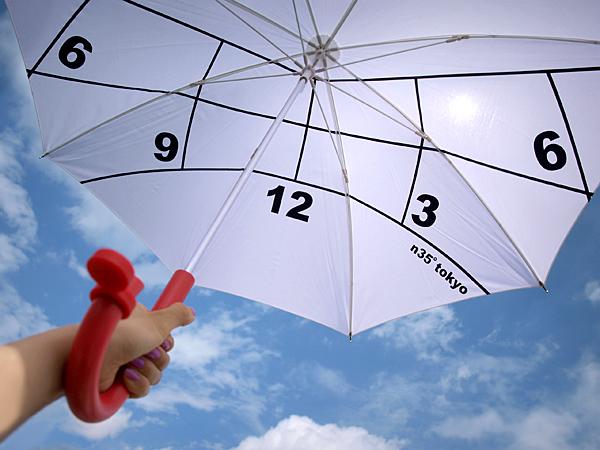 傘を広げて太陽にかざしている画像