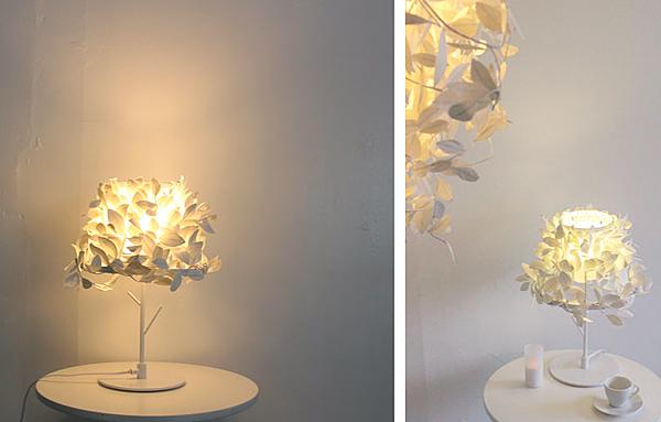 テーブルの上でランプに光を灯している画像