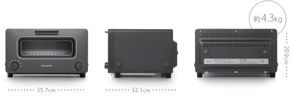 トースターの寸法が記入された画像