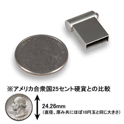 25セント硬貨とUSBメモリを並べた画像