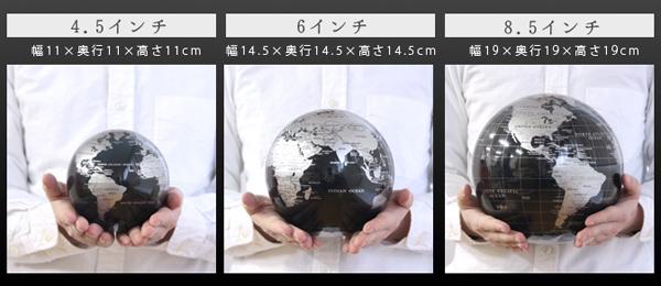 3種類の大きさのmova globeを並べた画像