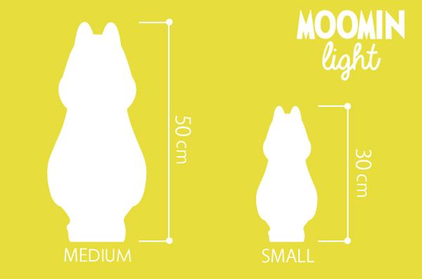 ムーミンライトの寸法が書かれている画像