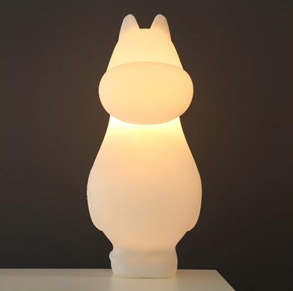 ムーミンライトに明かりを灯して正面からみた画像
