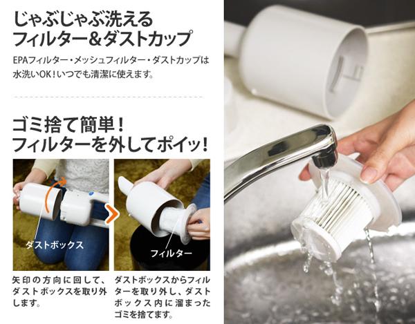 XJC-Y010のフィルターを水洗いしている画像