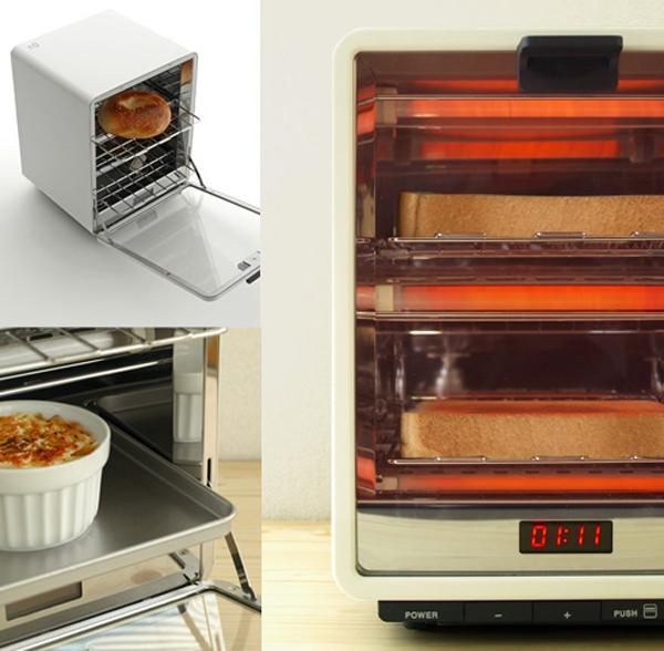 パンを同時に2枚焼いている画像