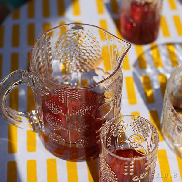 赤い飲み物を入れた画像