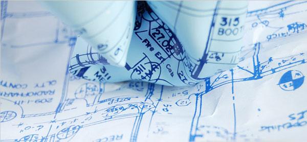 ブループリントデザインのペーパーウェイトの画像