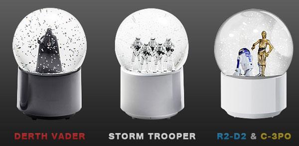 3種類のスターウォーズスノーグローブを並べた画像