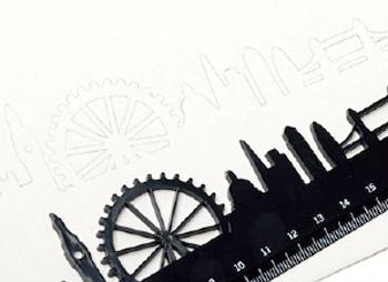 スカイラインルーラーで描いた街並みの画像