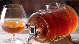 お洒落なガラス製樽型ドリンクディスペンサー